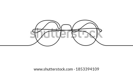 Glasses in continuous line art drawing style. Front view of eyeglasses minimalist black linear sketch isolated on white background. Vector illustration Photo stock ©
