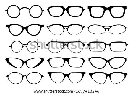 Glasses line art silhouette, eyewear and optical accessory. Medical classic ocular set. Vector glasses illustration on white background Stok fotoğraf ©