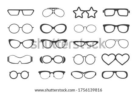 Glasses model set. Eyeglasses silhouettes icons, fashion plastic glasses and retro sunglass, oculars with modern optical lenses, vector illustration isolated on white background Stok fotoğraf ©