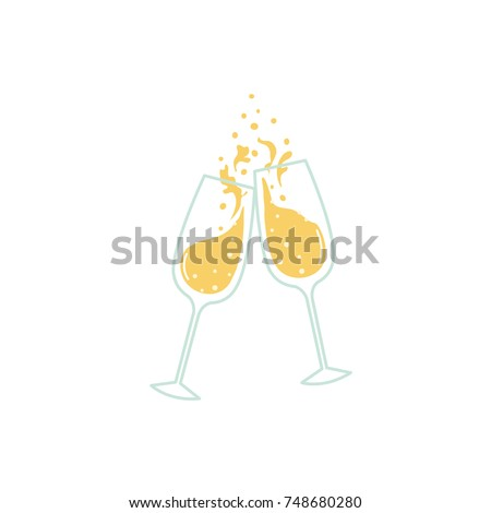 Glasses of champagne cheering with splash.
