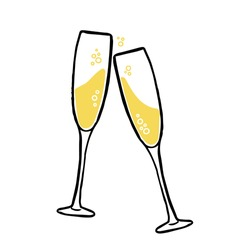 Glasses of champagne. Party illustration. Trendy flat style. Art for different purposes. Ready-to-use design template. Vector illustration.