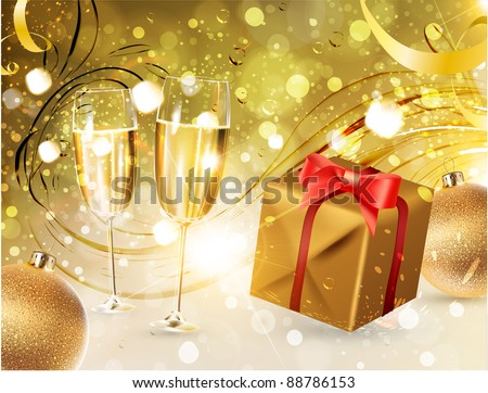Glasses of champagne with gold ribbon gifts and Christmas balls for bright Xmas design
