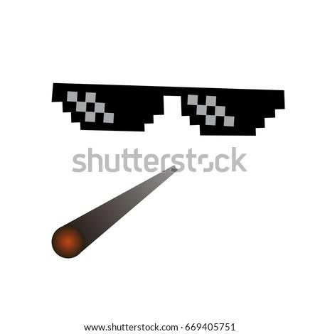 glasses pixel vector icon