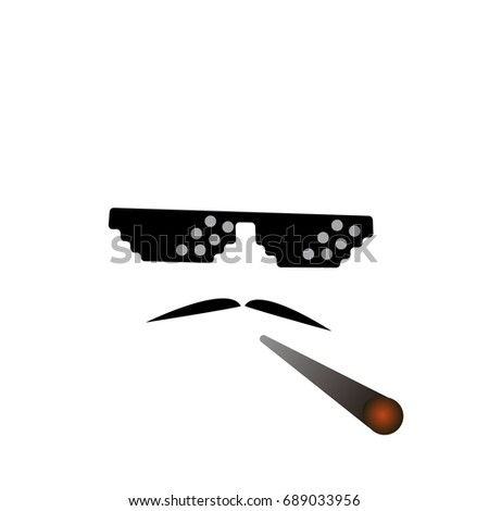 81d4d286a34 glasses pixel vector icon. Pixel Art Glasses of Thug Life Meme and smoke -  Isolated