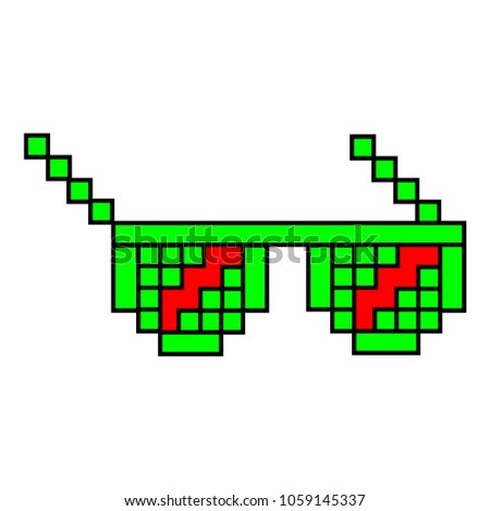 glasses pixels on a white