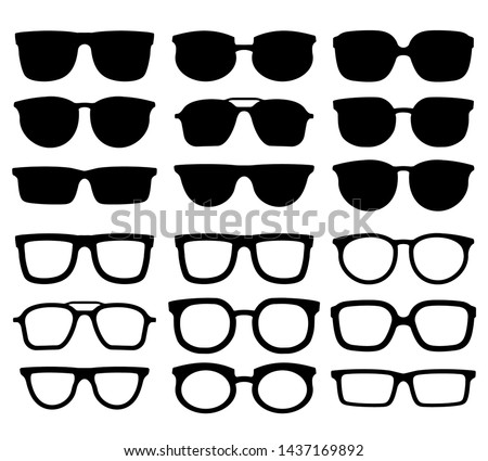 Glasses silhouette. Geek eyewear, cool sunglasses and eyeglasses silhouettes. Elegance glasses or geeks fashion optical ocular lens accessory. Vector isolated icons collection