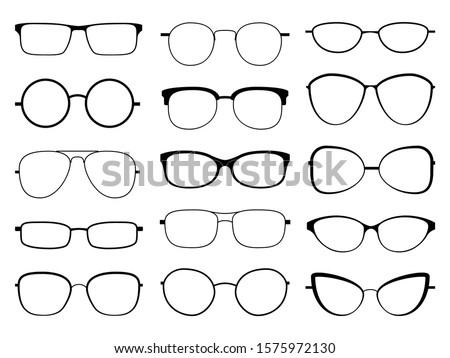 Glasses silhouette. Stylish frame sunglasses, eyeglasses optical eyesight different shapes, frames and fashion rims vector rounded optic lens set