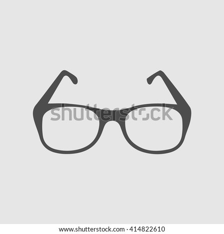 Glasses vector icon. Simple isolated symbol EPS 10. black pictogram on grey background.
