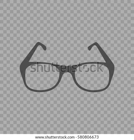 Glasses vector icon. Simple silhouette vector illustration EPS 10 on transparent background.