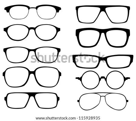 Shutterstock glasses vector set. Retro, wayfarer, aviator frames