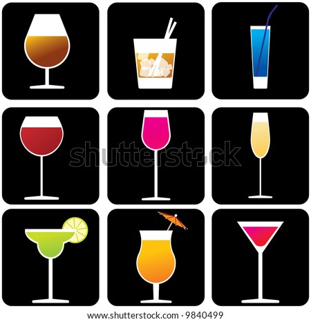 Glasses with alcoholic drinks