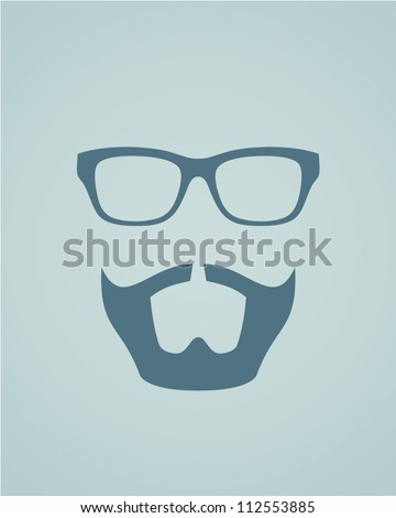 Glasses with beard. Vector illustration