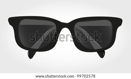 glasses with black lenses isolated on blue background, vector illustration