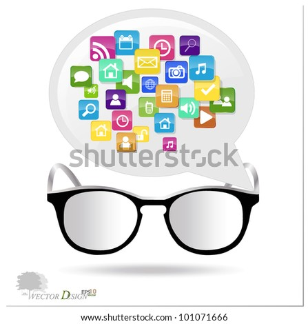 Glasses with cloud of colorful application. Vector illustration.