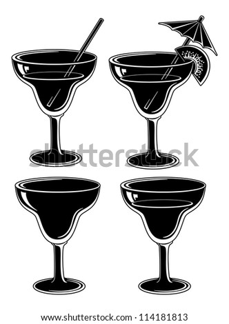 Glasses with drink, set: empty, with a drink, with a kiwifruit and straw. Symbolical pictogram, black contour on white background. Vector - stock vector