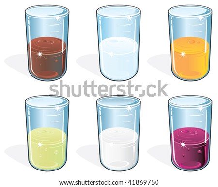 Glasses with juice,water, tea and milk. Vector illustration