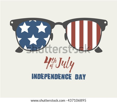 Glasses with stars and strips. Happy independence day United states of America. 4th of July. Vector illustration