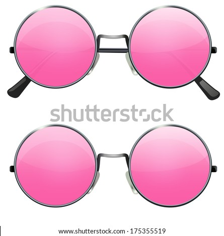 glasses with transparent pink