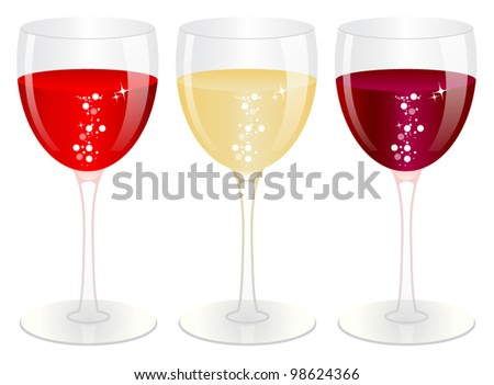 Glasses with wine - stock vector