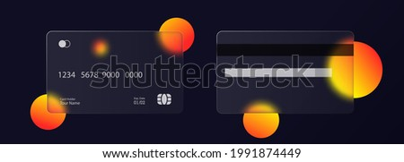 Glassmorphism style. Credit card icon. Cashless payment concept. Realistic glass morphism effect with set of transparent glass plates. Vector illustration.