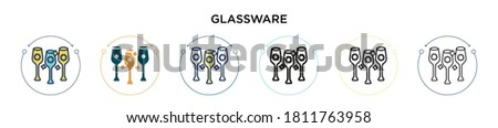 glassware icon in filled  thin