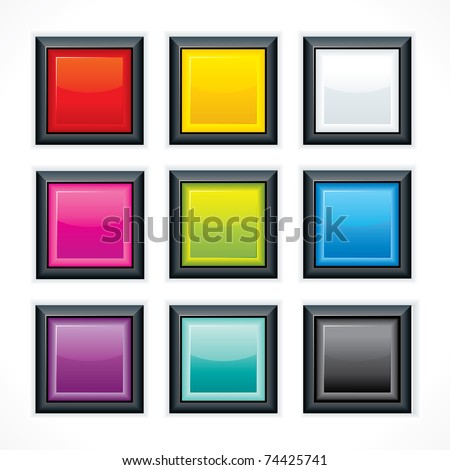Glassy blank web buttons. Square shaped with reflection and black border