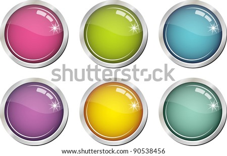 Glassy colorful buttons