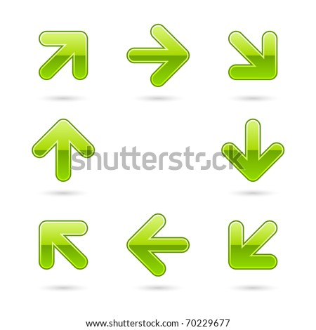 Glassy green arrow icon web 2.0 button with drop shadow on white background