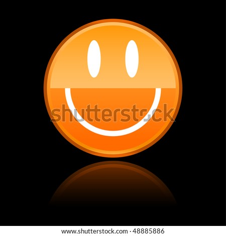 Glossy orange smiley face withreflection on black