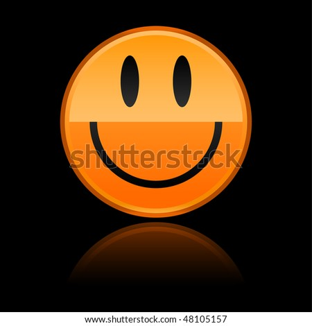 Glossy orange black smiley face with color reflection on black background
