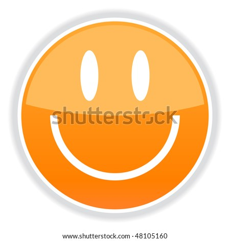 Glassy orange white smiley face with gray shadow on white