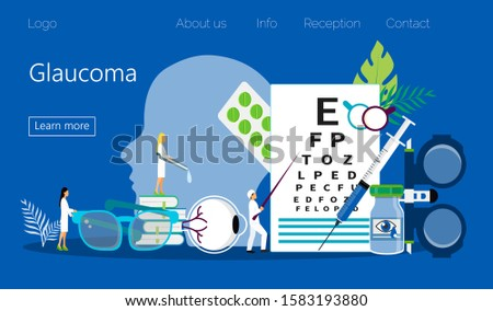 Glaucoma treatment concept vector. Medical ophthalmologist eyesight check up with tiny people character. It can e used for wallpaper, banner, flyer, card, website,  landing page.