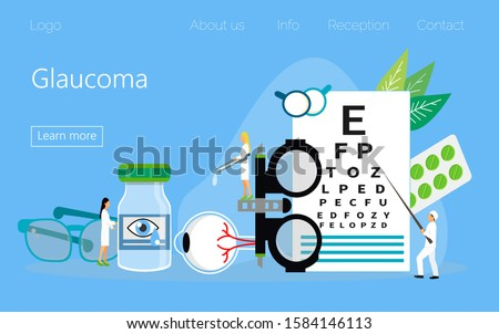 Glaucoma treatment concept vector. Medical ophthalmologist eyesight check up with tiny people character. It can be used for banner, flyer, card, website, landing page.