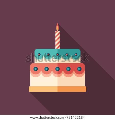 Glazed birthday cake flat square icon with long shadows.