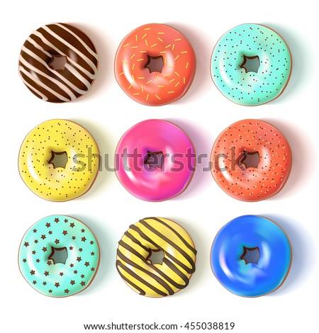 glazed colored donuts set 3d