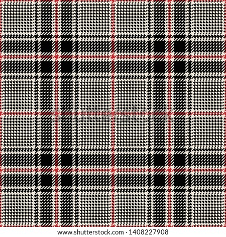 Glen check plaid pattern vector. Seamless hounds tooth tartan plaid in black, beige, and red for modern fashion textile design.
