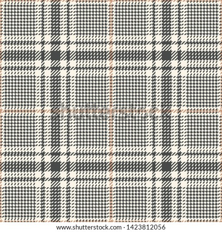 Glen pattern. Seamless hounds tooth check plaid in grey and beige for jacket, coat, or other modern everyday apparel design.