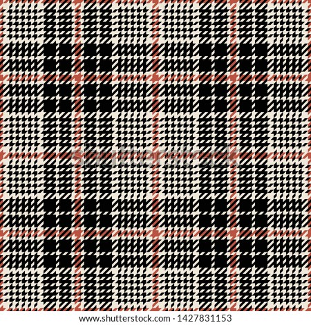 Glen plaid pattern. Seamless classic tartan check plaid in black, copper, and beige for jacket, coat, or other modern fashion textile design.