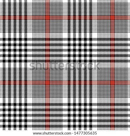Glen plaid pattern. Seamless tweed check plaid in black, red, and white for skirt, jacket, coat, trousers, dress, or other modern fashion textile design. Hounds tooth texture.