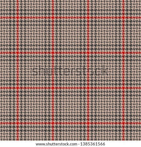Glen plaid. Seamless hounds tooth check plaid pattern in beige, grey, and red for jacket, dress, coat, skirt, or other fabric design.