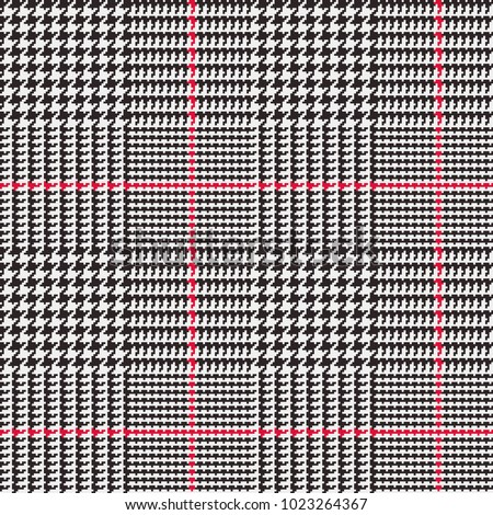 Glen Plaid Vector Pattern in Black, White and Red Overcheck Stripes. Classic Houndstooth Seamless Textile Print. Traditional Scottish Fabric. Pixel Perfect Tile Swatch Included