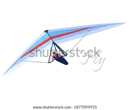 Glider extreme sport. Human pilot fly on hang wing. Vector Сток-фото ©