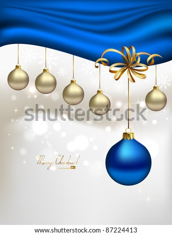 glimmered Christmas background with evening balls and blue special ball - stock vector