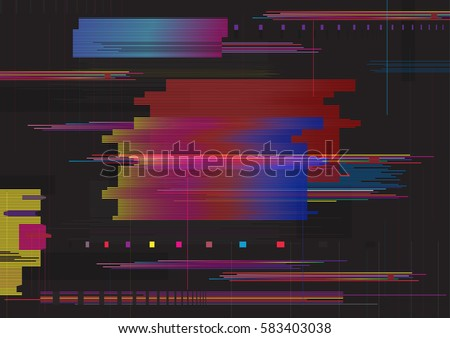 Stock Photo Glitch abstract background. Glitched horizontal stripes. Colorful digital signal error.
