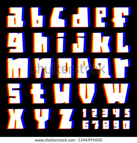 glitch alphabet letters and