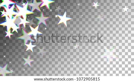 Glitch Art Background. White Stars with Trandy Glitch Effect. Postcard, Packaging, Textile Print. Digital Stars Backdrop. Falling White Stars Confetti Vector Illustration.