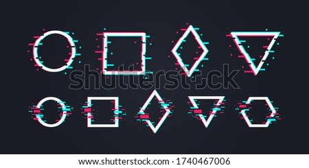 Glitch art concept. Set of 9 Distorted Glitch frames, backgrounds. Glitch music logo templates. Circle, square, triangle, rhombus and hexagon in distorted glitch style. Vector illustration stock photo
