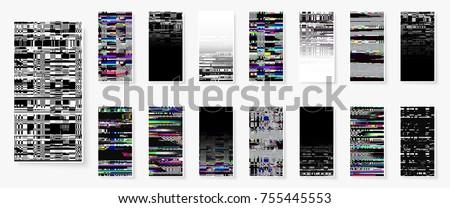 glitch backgrounds set