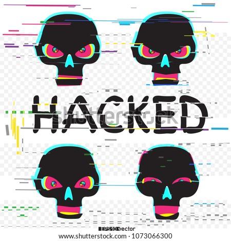 glitch black hacker skulls set