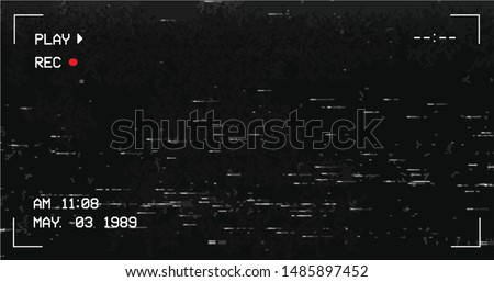 Glitch camera effect. Retro VHS background. Old video template. No signal. Tape rewind. Vector illustration. - Vector